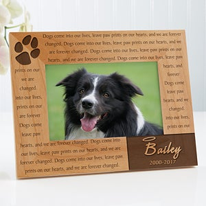 personalized pet memorial picture frame paw prints on our heart 12125 - Dog Memorial Frame