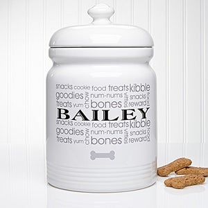 Personalized Dog Treat Jar - Doggie Delights - 12128