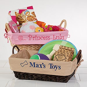 Personalized Dog Toy Baskets - 12141 & Personalized Dog Toy Baskets - Tan - Pet Gifts