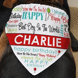 Personalized Dog Bandana - Happy Birthday - 12142