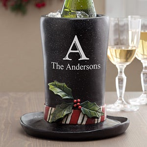Personalized Wine Chiller - Christmas Top Hat - 12185