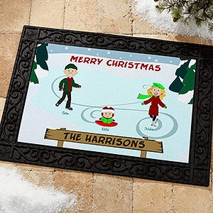 Personalized Holiday Doormats - Ice Skating Family - 12193