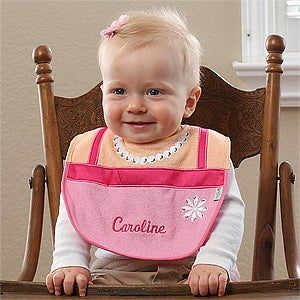 Personalized Bibs for Baby Girls - Pretty In Pearls - 12196