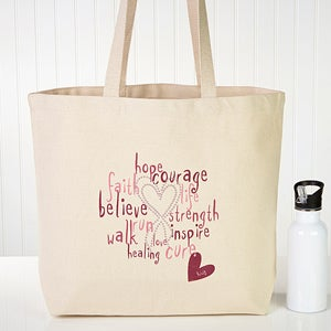Personalized Breast Cancer Awareness Tote Bag - Hope, Courage, Life - 12206