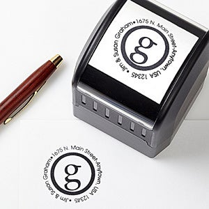 personalized self inking address stamp small initial