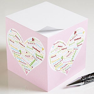 Heart of Love Personalized Paper Note Cube