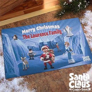 Personalized Christmas Doormats - Santa Claus Is Comin' To Town - 12230