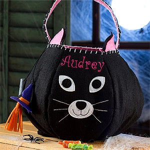 Personalized Halloween Trick or Treat Bags - Black Cat - 12239