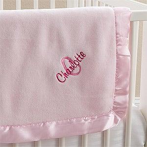 Personalized pink baby girl blankets all about me baby gifts buy personalized baby blankets for girls add any name initial monogram to be custom embroidered free personalization fast shipping negle Images
