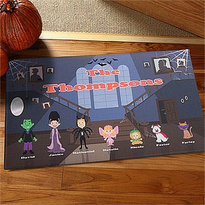 Personalized Halloween Family Haunted House Doormat - 12296