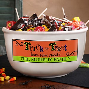 Personalized Halloween Candy Bowl Trick Or Treat Sweets