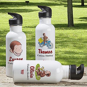 Personalized Curious George Water Bottle - 12318
