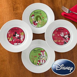 Personalized Disney Christmas Plates - Mickey, Minnie, Goofy, Donald Duck - 12331