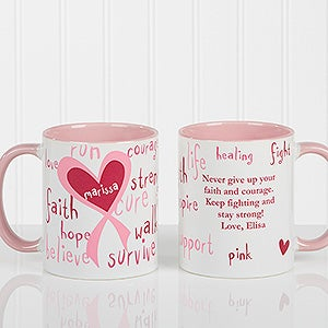 Personalized Breast Cancer Awareness Coffee Mugs - Hope, Courage, Life - 12350