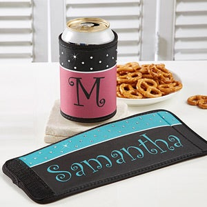 Personalized Can & Bottle Wrap - Rhinestone Dots - 12357