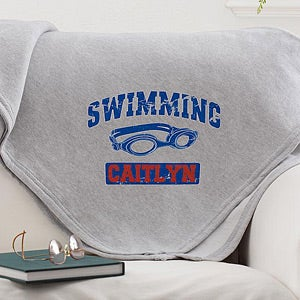Personalized Girls Sports Fleece Sweatshirt Blanket - 12365