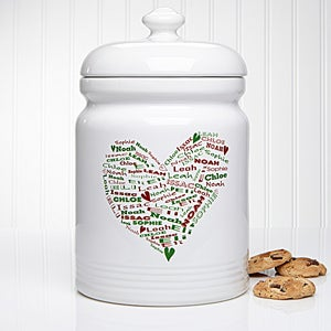 Her Heart of Love Personalized Christmas Cookie Jar - 12368