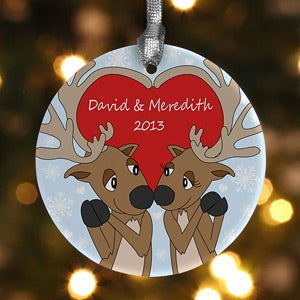 Personalized Christmas Ornaments - Reindeer Heart - 12369