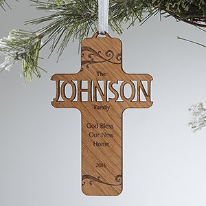 Personalized Cross Christmas Ornaments - Bless Our Family - 12371