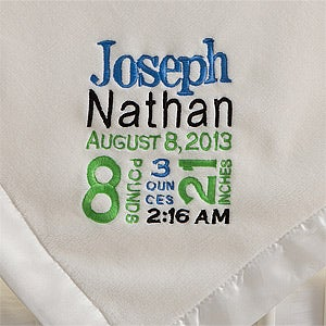 Personalized Baby Blankets for Boys - Birth Announcement - 12372