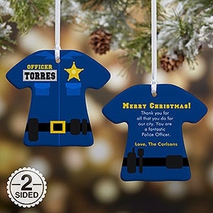 personalized christmas ornaments police uniform 12373