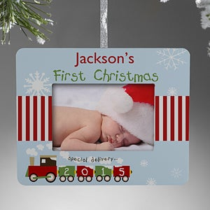 Personalized Baby Picture Frame on Personalized Christmas Ornaments   Baby S First Christmas Frame