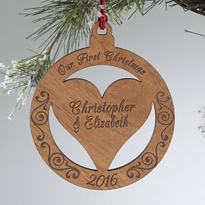 Personalized Christmas Ornaments - Engraved Wood Heart - 12396