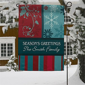 Personalized Christmas Garden Flags Happy Holidays