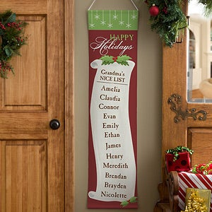 Personalized Christmas Door Banners - Family Christmas List - 12423