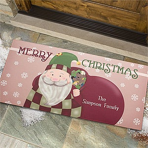 Personalized Christmas Doormats - Vintage Santa - 12427