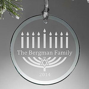 Personalized Hanukkah Ornament - Menorah - 12428