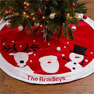 Personalized Christmas Tree Skirt - Santa, Reindeer & Snowman - 12434
