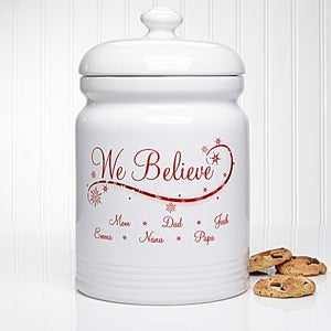 Personalized Christmas Cookie Jar - We Believe - 12444