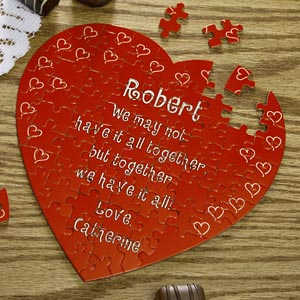Personalized Heart Shaped Puzzle - Love Connection - 1245