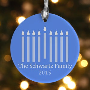 Personalized Hanukkah Ornaments - Menorah - 12461