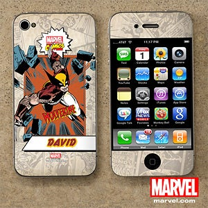 Personalized Marvel Superhero iPhone Skins - Wolverine, Spiderman, Hulk, Iron Man - 12496