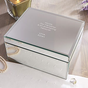 personalized large mirrored jewelry box custom engraved message