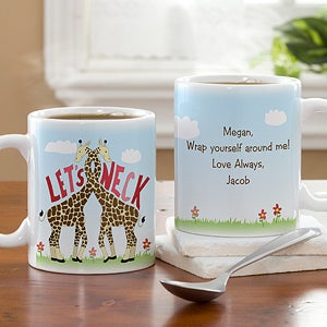 Personalized Coffee Mugs - Romantic Let's Neck Giraffes - 12525