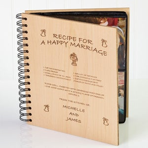 Personalized Wood Photo Album - Recipe For A Happy Marriage - 1253