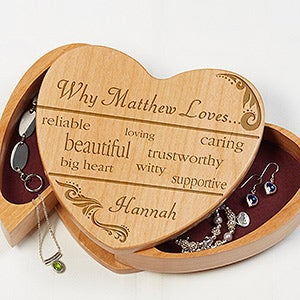 Personalized Jewelry Boxes - Why I Love You Heart - 12532