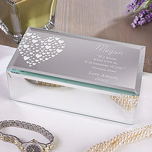 Personalized Mirrored Jewelry Box - Love Is Kind - 12538
