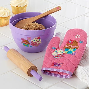 Kids Cupcake Baking Set - Bowl, Rolling Pin, Oven Mit and Spoon - 12544
