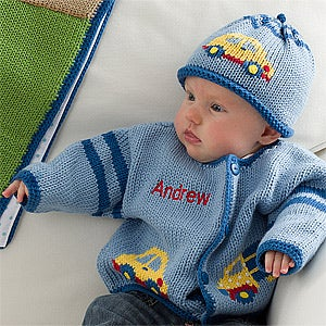 Personalized Baby Boys Sweater - Cars, Trucks & Airplanes - 12563