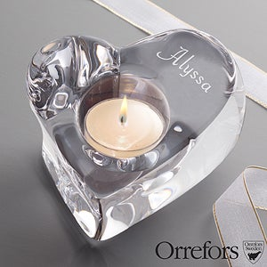 Personalized Crystal Heart Votive Candle Holder by Orrefors - 12564