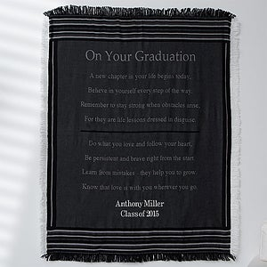 Personalized Graduation Throw Blanket - Striped - 12567