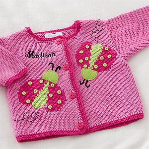 Personalized Baby Girls Sweater - Ladybugs & Flowers - 12572
