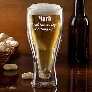 Personalized Birthday Beer Glasses - Bottoms Up - 12576