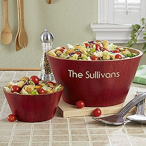 Personalized Bamboo Serving Bowls - 12594