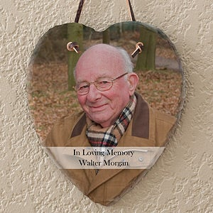 Personalized Memorial Photo Plaque - Heart Slate - 12630