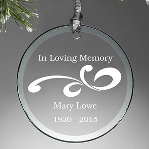Personalized Glass Memorial Christmas Ornament - Loving Memory - 12641